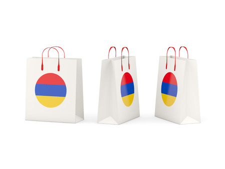 armenia: Round flag of armenia on shopping bags. 3D illustration