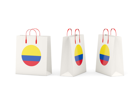 shoping bag: Round flag of colombia on shopping bags. 3D illustration