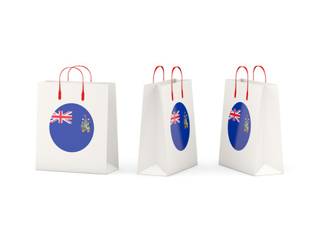 south georgia: Round flag of south georgia and the south sandwich islands on shopping bags. 3D illustration