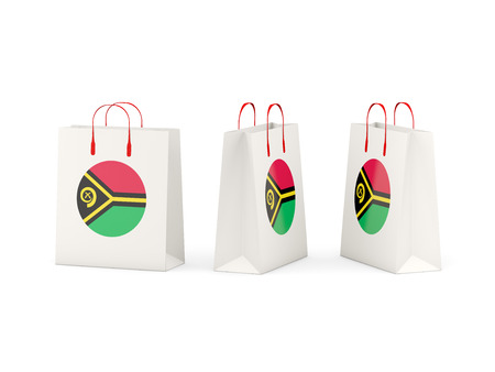 shoping bag: Round flag of vanuatu on shopping bags. 3D illustration Stock Photo