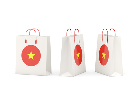 shoping bag: Round flag of vietnam on shopping bags. 3D illustration Stock Photo