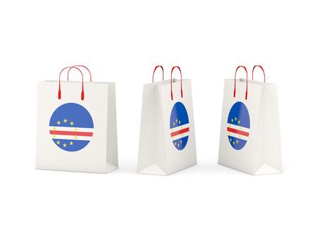 verde: Round flag of cape verde on shopping bags. 3D illustration