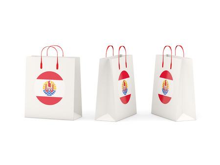 polynesia: Round flag of french polynesia on shopping bags. 3D illustration
