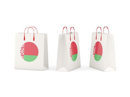 Round flag of belarus on shopping bags. 3D illustration
