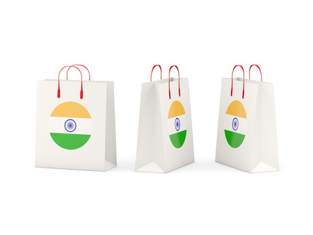 india 3d: Round flag of india on shopping bags. 3D illustration Stock Photo