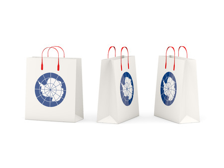 antarctica: Round flag of antarctica on shopping bags. 3D illustration
