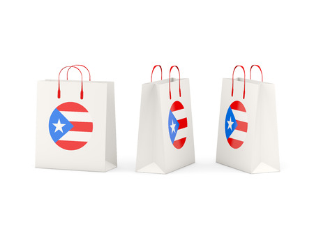 bandera de puerto rico: Round flag of puerto rico on shopping bags. 3D illustration
