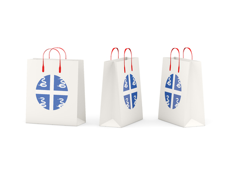 martinique: Round flag of martinique on shopping bags. 3D illustration
