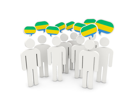 People with flag of gabon isolated on white. 3D illustration