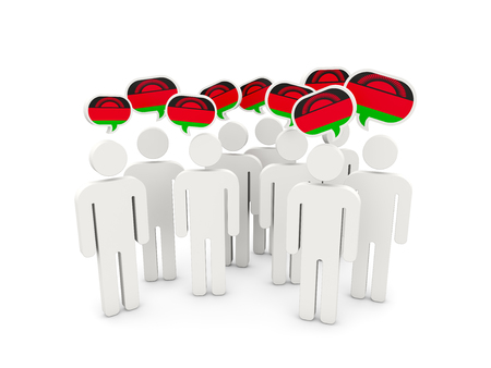 malawi: People with flag of malawi isolated on white. 3D illustration