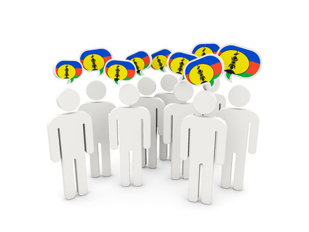 People with flag of new caledonia isolated on white. 3D illustration
