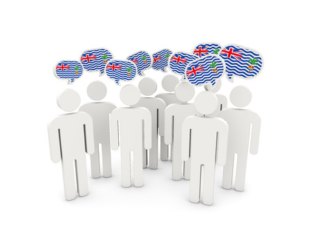 british people: People with flag of british indian ocean territory isolated on white. 3D illustration Stock Photo