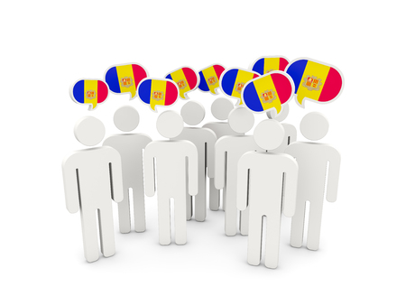 andorra: People with flag of andorra isolated on white. 3D illustration