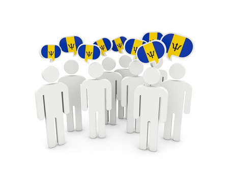 barbados: People with flag of barbados isolated on white. 3D illustration Stock Photo