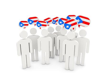 bandera de puerto rico: Las personas con la bandera de Puerto Rico aislados en blanco. ilustración 3D Foto de archivo