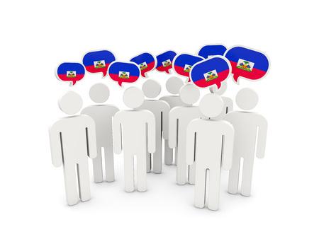 haiti: People with flag of haiti isolated on white. 3D illustration Stock Photo