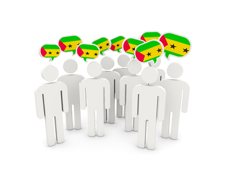 principe: People with flag of sao tome and principe isolated on white. 3D illustration Foto de archivo