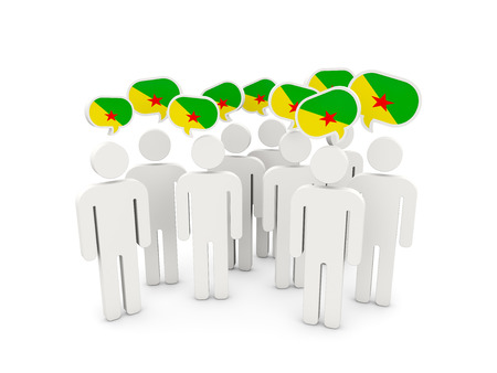 french guiana: People with flag of french guiana isolated on white. 3D illustration