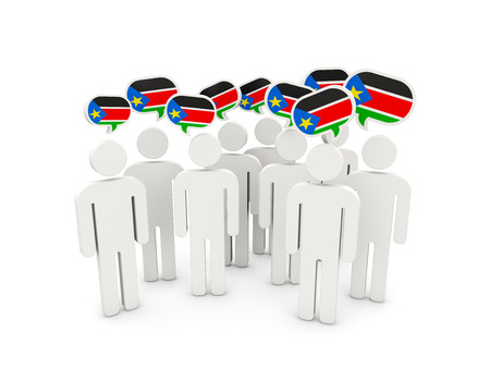 south sudan: People with flag of south sudan isolated on white. 3D illustration Stock Photo