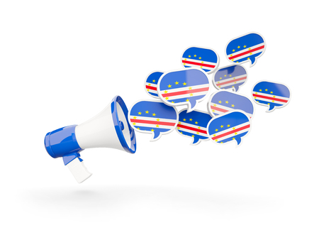 Megaphone with flag of cape verde isolated on white. 3D illustration