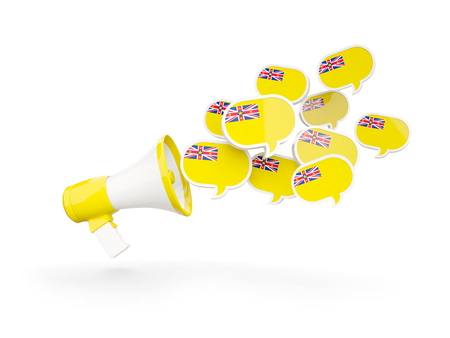 niue: Megaphone with flag of niue isolated on white. 3D illustration