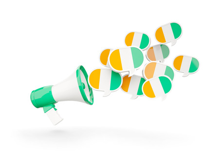 cote ivoire: Megaphone with flag of cote d Ivoire isolated on white. 3D illustration Stock Photo