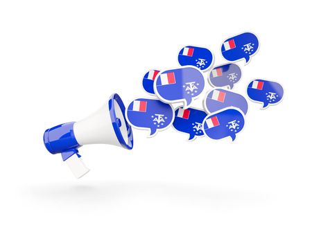 territories: Megaphone with flag of french southern territories isolated on white. 3D illustration