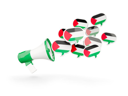 palestinian: Megaphone with flag of palestinian territory isolated on white. 3D illustration