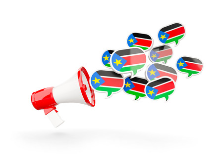 south sudan: Megaphone with flag of south sudan isolated on white. 3D illustration