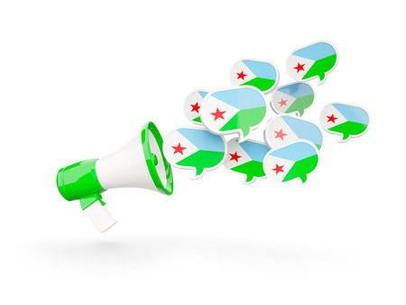 Megaphone with flag of djibouti isolated on white. 3D illustration