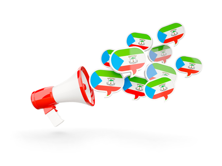 Megaphone with flag of equatorial guinea isolated on white. 3D illustration