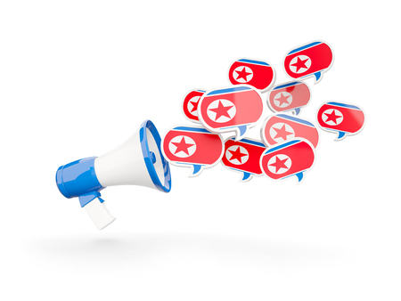 Megaphone with flag of north korea isolated on white. 3D illustration