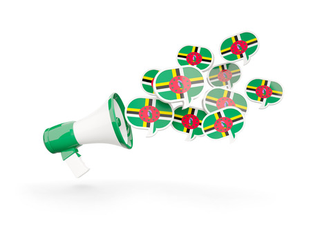 Megaphone with flag of dominica isolated on white. 3D illustration
