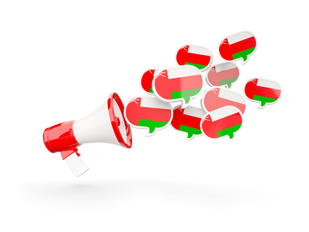 Megaphone with flag of oman isolated on white. 3D illustration Stock Photo