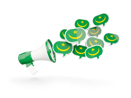 Megaphone with flag of mauritania isolated on white. 3D illustration Stock Photo