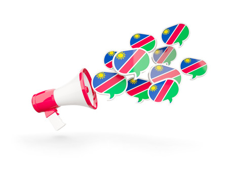 namibia: Megaphone with flag of namibia isolated on white. 3D illustration