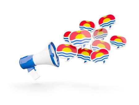 Megaphone with flag of kiribati isolated on white. 3D illustration
