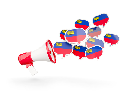 Megaphone with flag of liechtenstein isolated on white. 3D illustration Stock Photo