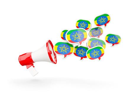 national flag ethiopia: Megaphone with flag of ethiopia isolated on white. 3D illustration
