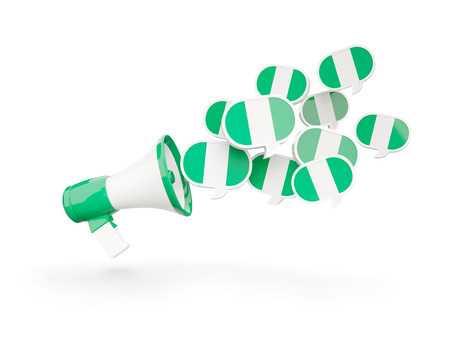 country nigeria: Megaphone with flag of nigeria isolated on white. 3D illustration Stock Photo