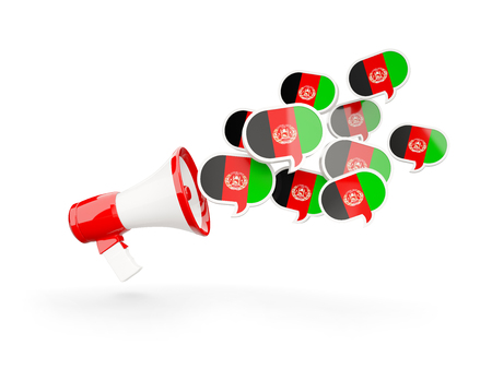 Megaphone with flag of afghanistan isolated on white. 3D illustration