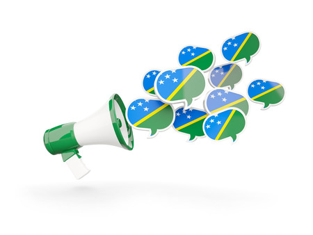 Megaphone with flag of solomon islands isolated on white. 3D illustration