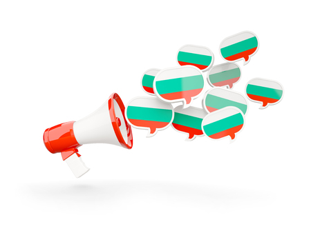 Megaphone with flag of bulgaria isolated on white. 3D illustration