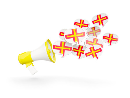 guernsey: Megaphone with flag of guernsey isolated on white. 3D illustration