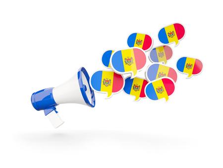 moldova: Megaphone with flag of moldova isolated on white. 3D illustration Stock Photo