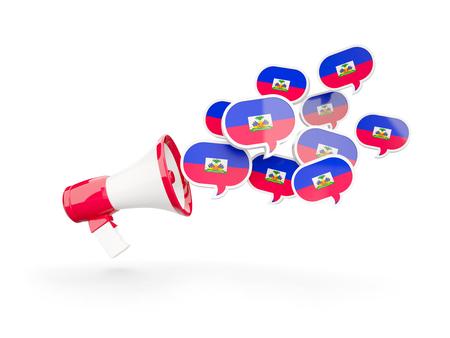 haiti: Megaphone with flag of haiti isolated on white. 3D illustration Stock Photo