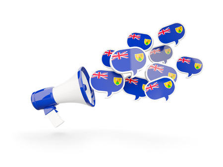 the turks: Megaphone with flag of turks and caicos islands isolated on white. 3D illustration Stock Photo