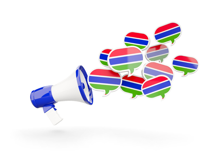 gambia: Megaphone with flag of gambia isolated on white. 3D illustration