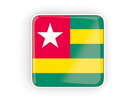 togo: Flag of togo, square icon with white border. 3D illustration