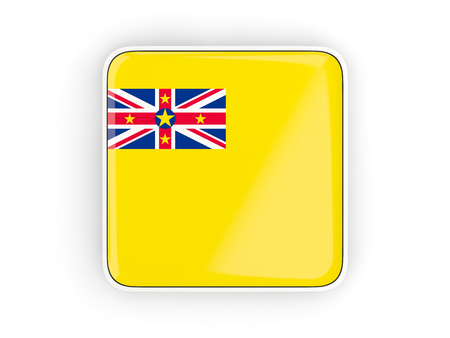 niue: Flag of niue, square icon with white border. 3D illustration